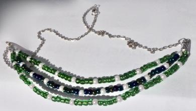 Three strand bead necklace. $25.00 (Green & Blue beads, 55cm)