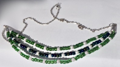 Three strand bead necklace. $25.00 (Green & Blue beads, 55cm)