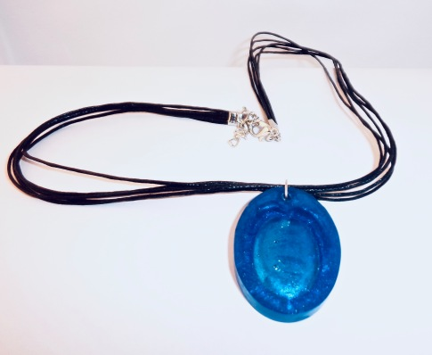 Blue Oval Resin Pendant