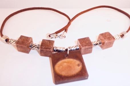 Bronze & Orange Square Pendant Necklace