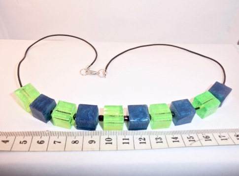 Green & Blue Square Bead Necklace