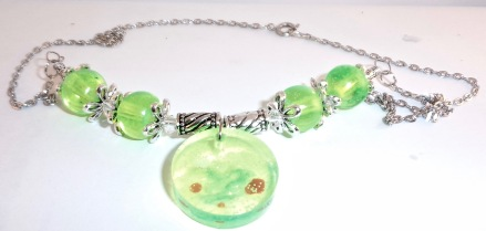 Green Resin Pendant & Bead Necklace