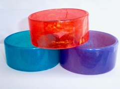 """Thick Resin Bangles: (3cm wide), wide fit 8"""". Available in a range of colours"""