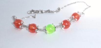 Orange & Green Bead Resin Necklace