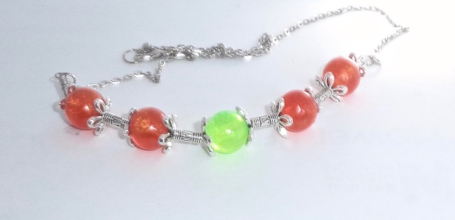Orange & Green Bead Resin Necklace