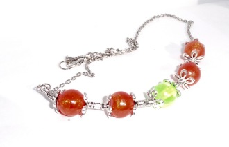 Silver & resin bead necklace