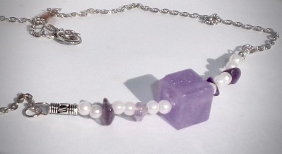 Purple Square with Faux Peal & Amethyst Beads