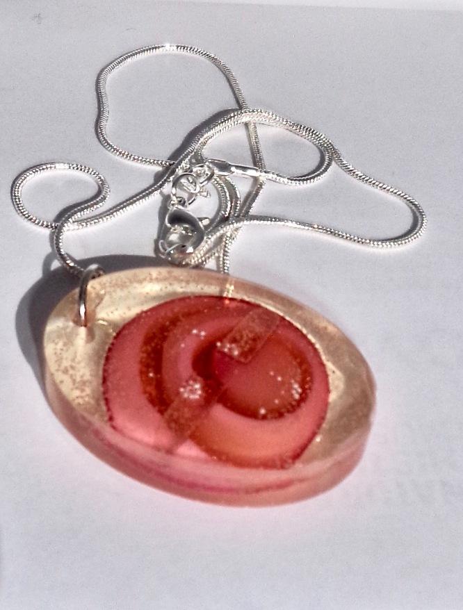 Pinks Circles Oval Pendant