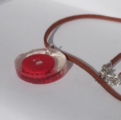 Red & Clear Resin Circle Pendant