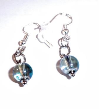 Blue bead silver earrings