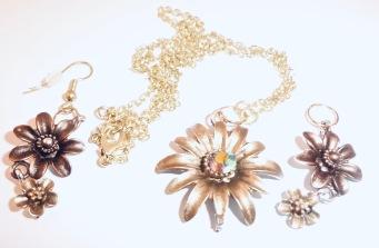 Bronze Flower Jewellery Set