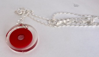 Red Circle on silver chain