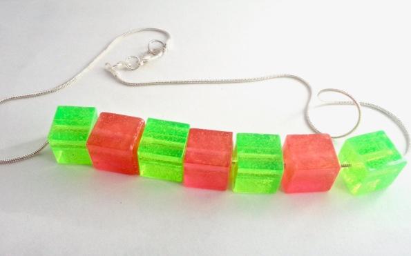 Green & Orange Square beads $15.00: Green & Orange resin square beads (1cm) on silver chain (44cm)