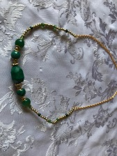 Green (malachite) & Gold (glass) Necklace $25.00, 54cm long