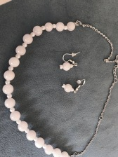 Rose quartz bead necklace & earring set, $35.00