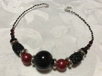 Black & red resin and glass beads