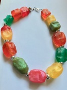 Multi-coloured chunky resin necklace $30.00 (length 56cm)