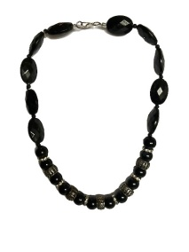 Black and silver plastic beads