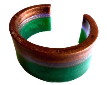 Bronze, purple & green stripe cuff bangle