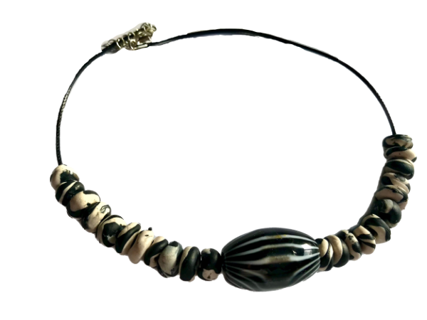 B&W clay and glass bead necklace with black cord