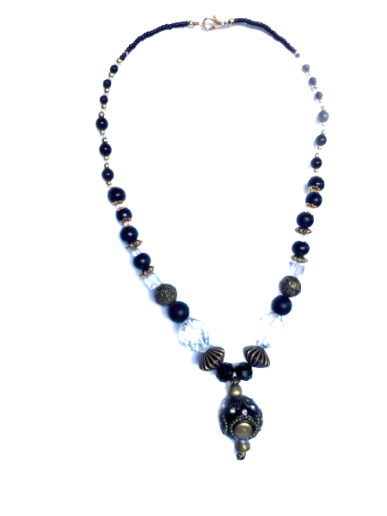 Clear, black & bronze glass beads