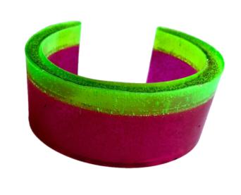 Pink & Green Stripe Cuff bangle